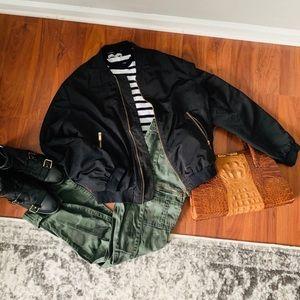 Zara Black Bomber Jacket sz S